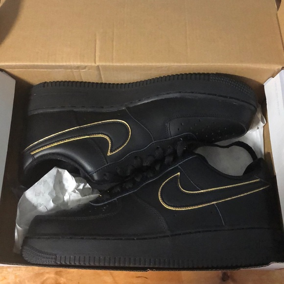 Nike Shoes | Air Force 7 Black And Gold